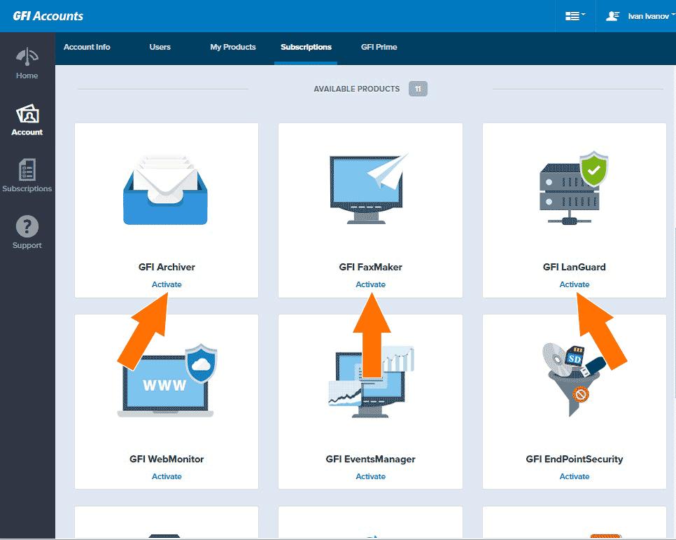 Шаг 3: Выберите нужный продукт из списка для активации и нажмите «Activate»: